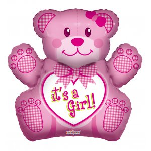It's A Girl Teddy SuperShape - Uptown Parties & Balloons