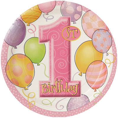 "1st Birthday Pink 9"" Plates - Uptown Parties & Balloons"