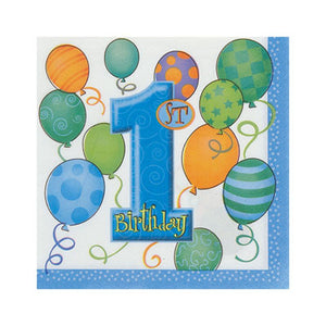 1st Birthday Blue Beverage Napkins - Uptown Parties & Balloons