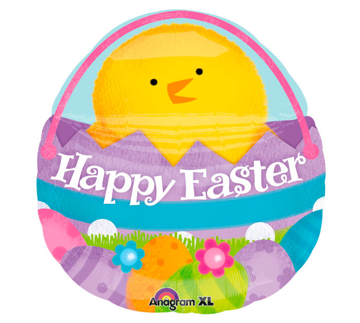 SuperShape Chick In Basket Easter Balloon - Uptown Parties & Balloons