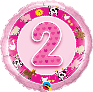 Age 2 pink Farm Animals - Uptown Parties & Balloons