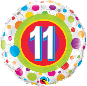 Age 11 Colourful Dots - Uptown Parties & Balloons