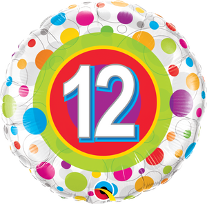 Age 12 Colourful Dots - Uptown Parties & Balloons
