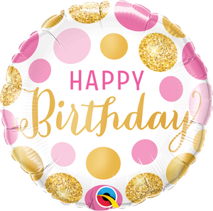 Birthday Pink & Gold Dots - Uptown Parties & Balloons