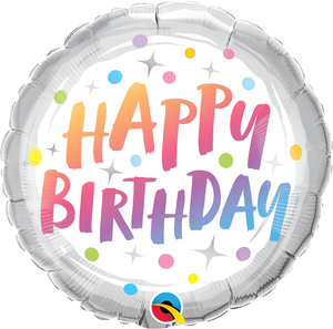 "18"" HAPPY BIRTHDAY RAINBOW DOTS - Uptown Parties & Balloons"