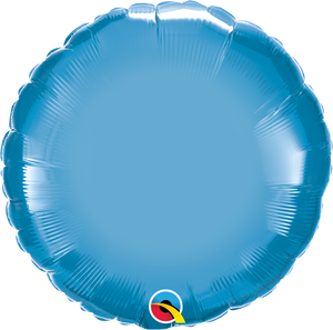 "18"" Chrome Blue Round - Uptown Parties & Balloons"