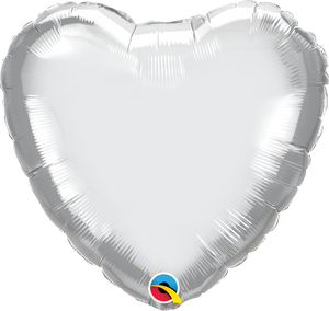"18"" Chrome Silver Heart - Uptown Parties & Balloons"