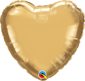 "18"" Chrome Gold Heart - Uptown Parties & Balloons"