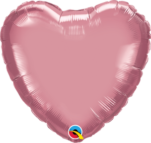 "18"" Chrome Mauve Heart - Uptown Parties & Balloons"
