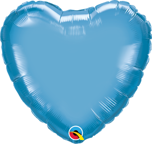 "18"" Chrome Blue Heart - Uptown Parties & Balloons"