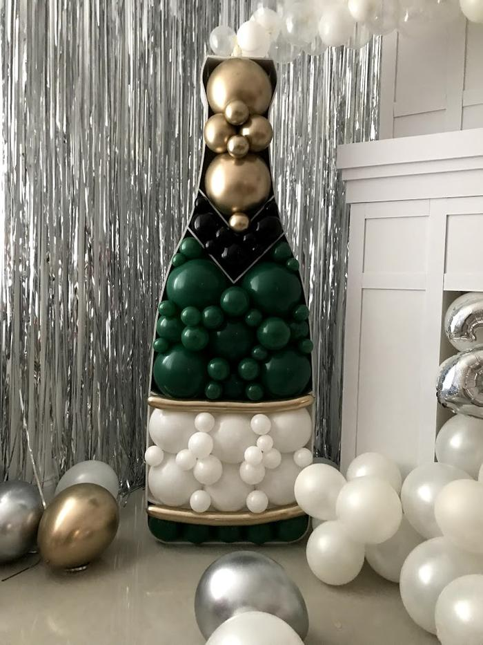 Balloon Mosaic Champagne Bottle - Uptown Parties & Balloons