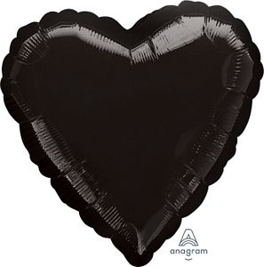 "18"" Metallic Black Foil Heart - Uptown Parties & Balloons"