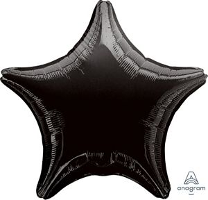 "18"" Metallic Black Foil Star - Uptown Parties & Balloons"