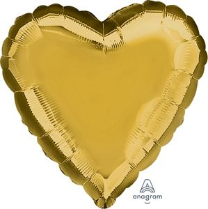 "18"" Metallic Old Gold Foil Heart - Uptown Parties & Balloons"