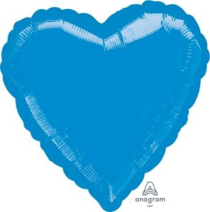 "18"" Metallic Turquoise Foil Heart - Uptown Parties & Balloons"