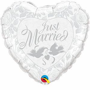 Just Married Heart Silver - Uptown Parties & Balloons