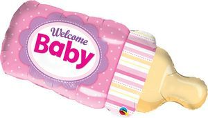 Welcome baby Bottle Pink SuperShape - Uptown Parties & Balloons