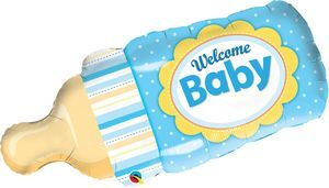 Welcome Baby Bottle Blue SuperShape - Uptown Parties & Balloons