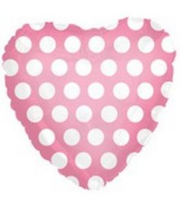 "18"" Bubble Gum Pink Polka Dot Foil Heart"
