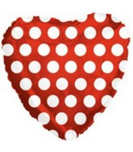 "18"" Red Polka Dot Foil Heart - Uptown Parties & Balloons"