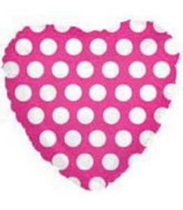 "18"" Hot Pink Polka Dot Foil Heart - Uptown Parties & Balloons"