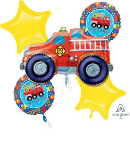 Fire Truck Foil Balloon Bouquet - Uptown Parties & Balloons