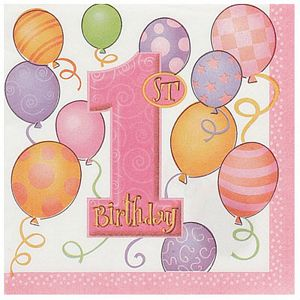 1st Birthday Pink Lunch Napkins - Uptown Parties & Balloons