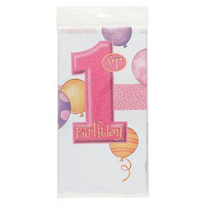 1st Birthday Pink Tablecover - Uptown Parties & Balloons