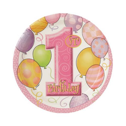 "1st Birthday Pink 7"" Plates - Uptown Parties & Balloons"