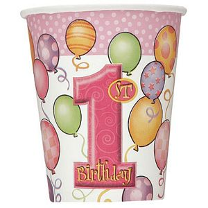 1st Birthday Pink 9oz Cups