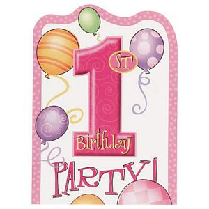 1st Birthday Pink Invitations - Uptown Parties & Balloons