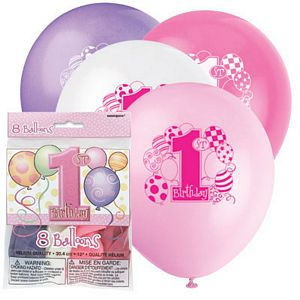 1st Birthday Pink Latex Balloons