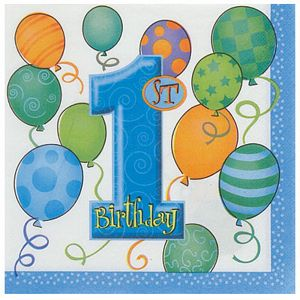 1st Birthday Blue Lunch Napkins - Uptown Parties & Balloons