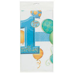 1st Birthday Blue Tablecover - Uptown Parties & Balloons
