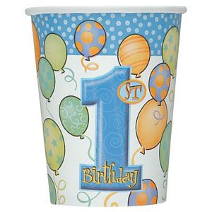 1st Birthday Blue 9oz Cups - Uptown Parties & Balloons