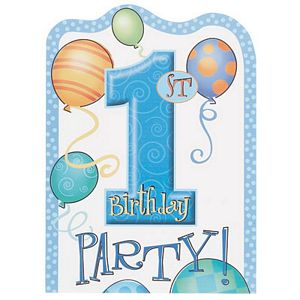 1st Birthday Blue Invitations - Uptown Parties & Balloons