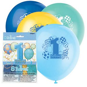 1st Birthday Blue Latex Balloons - Uptown Parties & Balloons