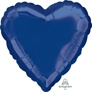 "18"" Metallic Navy Blue Foil Heart - Uptown Parties & Balloons"