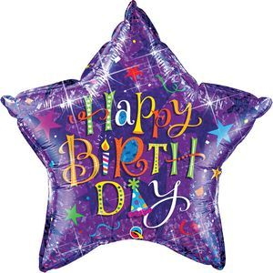 Happy Birthday Purple Star SuperShape - Uptown Parties & Balloons