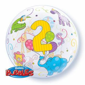 Age 2 Jungle Animals Bubble - Uptown Parties & Balloons