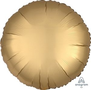 "18"" Satin Luxe Gold Sateen Foil Round - Uptown Parties & Balloons"