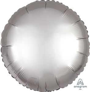 "18"" Satin Luxe Platinum Foil Round - Uptown Parties & Balloons"