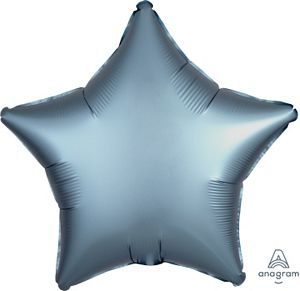 "18"" Satin Luxe Steel Blue Foil Star - Uptown Parties & Balloons"
