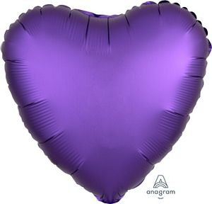 "18"" Satin Luxe Royal Purple Foil Heart - Uptown Parties & Balloons"