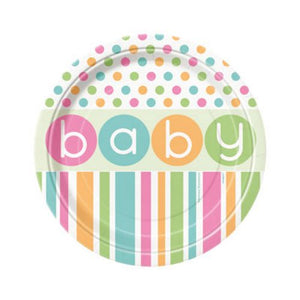 "Pastel Baby Shower 7"" Plates - Uptown Parties & Balloons"
