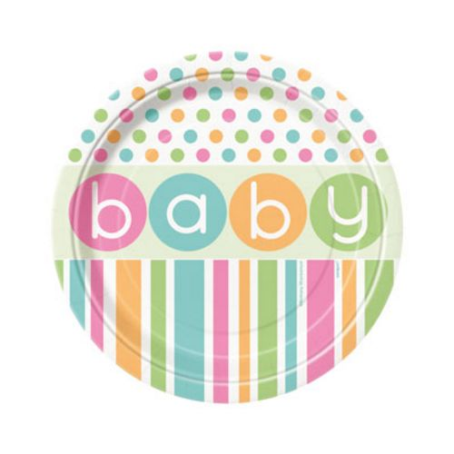 "Pastel Baby Shower 7"" Plates"