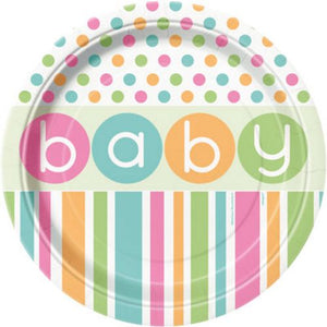 "Pastel Baby Shower 9"" Plates - Uptown Parties & Balloons"