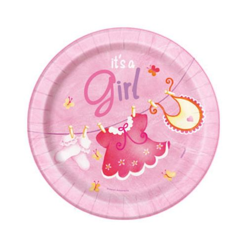 "Pink Clothesline 7"" Plates - Uptown Parties & Balloons"
