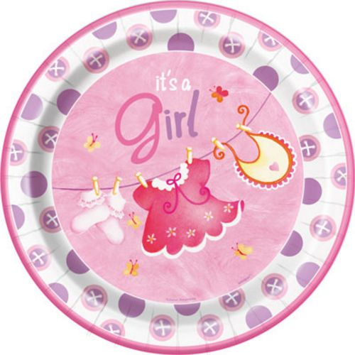 "Pink Clothesline 9"" Plates - Uptown Parties & Balloons"