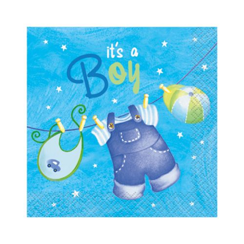 Blue Clothesline Beverage Napkins - Uptown Parties & Balloons